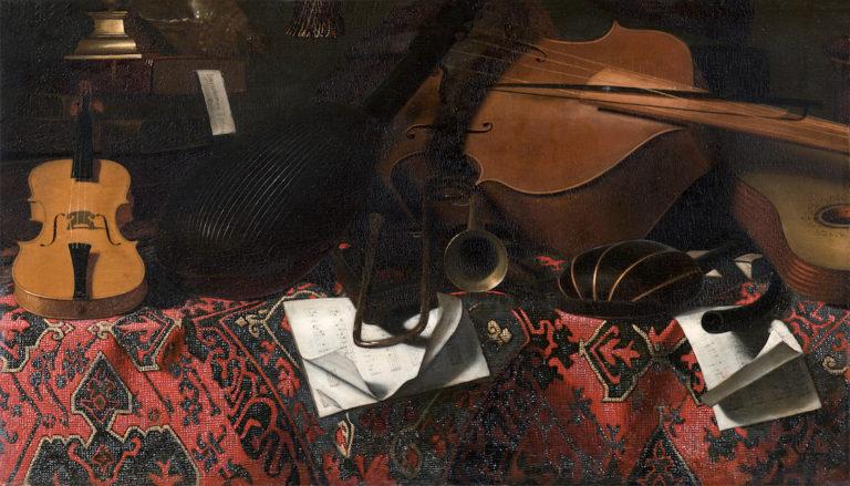 Тихая жизнь с музыкальными инструментами. ок. 1670