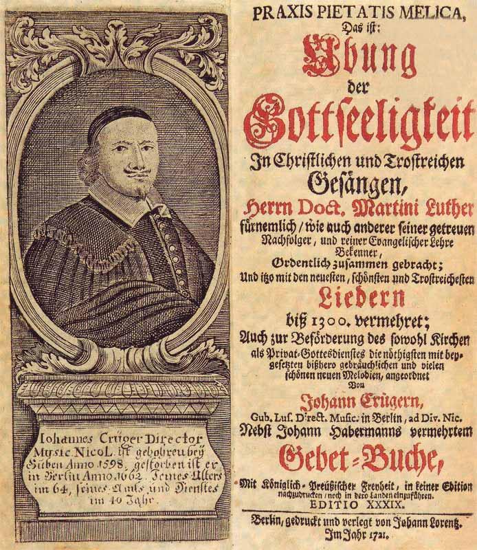 Титульный лист 39-го издания сборника протестантских гимнов Praxis pietatis melica. 1721