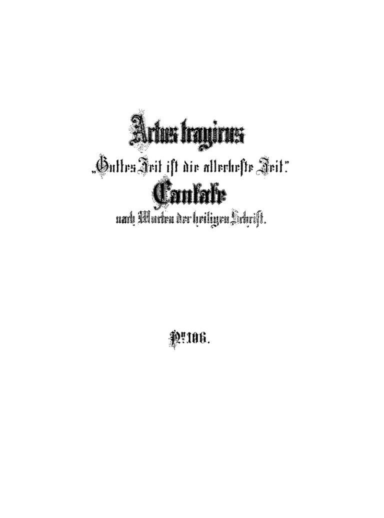 Титульный лист Actus tragicus лейпцигского издания Брейткопф и Гертель 1876 года