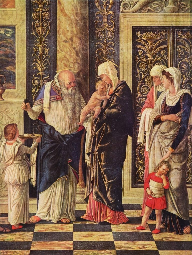 Триптих с Поклонением волхвов, Обрезанием и Вознесением. Деталь. 1460-1464