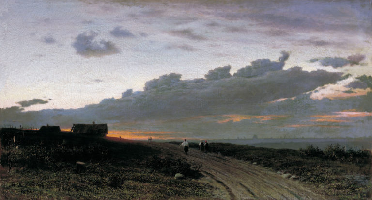 Вечерний вид в деревне. Орловская губерния. 1874