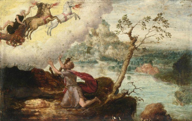 Восхождение Илии на небо в огненной колеснице. XVI в.