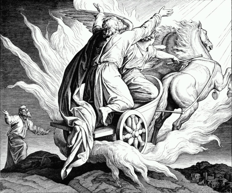 Вознесение Илии. Гравюра к Библии, XIX в.