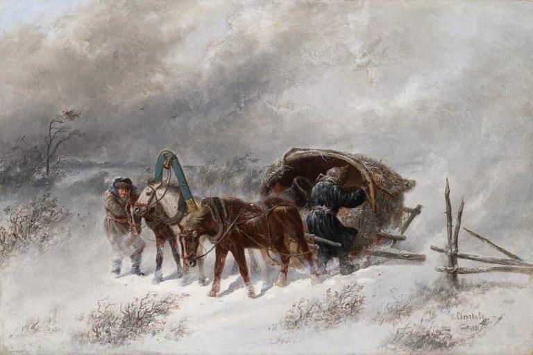 Ямская тройка, застигнутая метелью. 1881