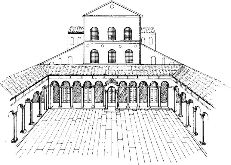 Внешний вид старой базилики Святого Петра, одного из первых официальных общественных христианских храмов в Риме