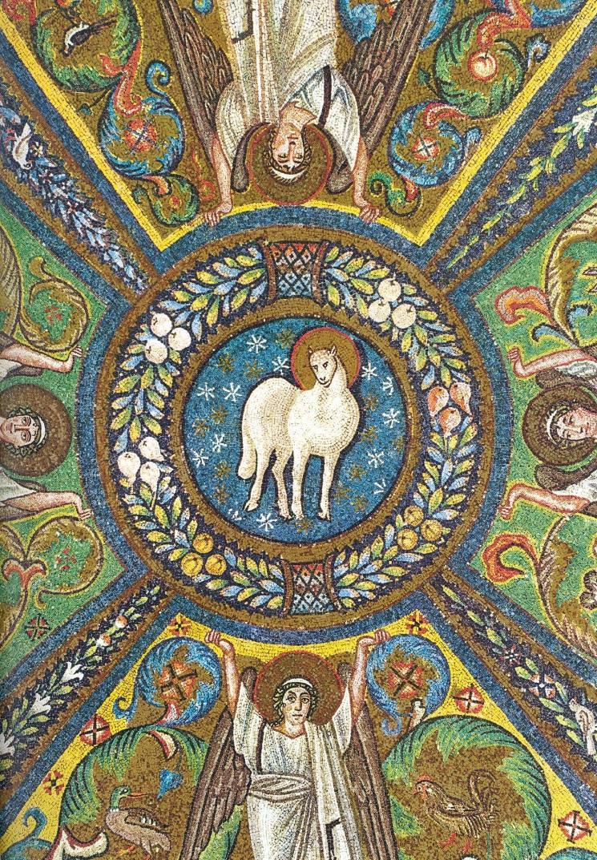 Агнец на плафоне базилики Сан-Витале. VI в. Равенна
