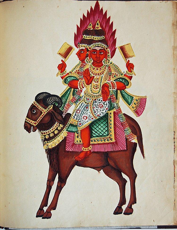 Агни (санскр. अग्नि, «огонь») — индийский бог огня. Ок. 1830 г. Британский музей