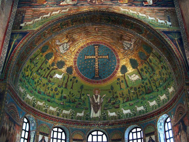 Алтарная а́псида базилики Сант-Аполлинаре-ин-Классе. VI в. Равенна