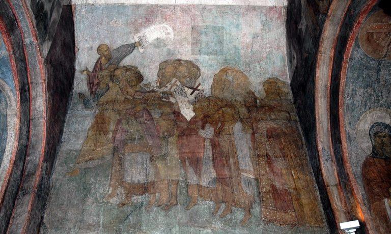 Апостол Павел ведет праведных в рай. 1408 г.
