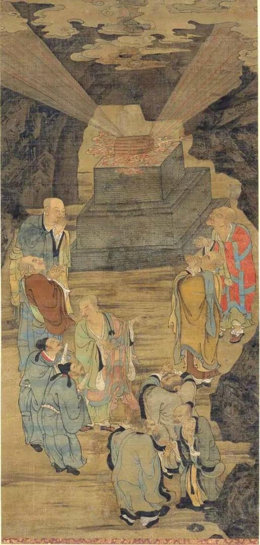 Архаты показывают силу сутр даосам. Китай, XII в.