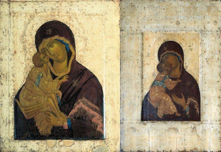 Богоматерь Донская письма Феофана Грека (слева) и Богоматерь Владимирская письма Андрея Рублева (справа)