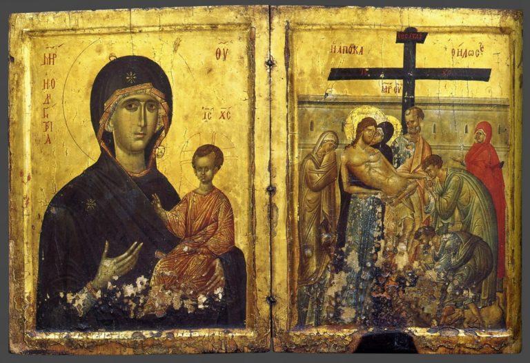 Богоматерь Одигитрия и Распятие. Ок. 1400 г.