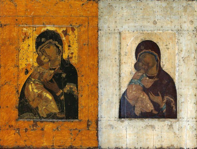 Богоматерь Владимирская византийского письма XII в. (слева) и Богоматерь Владимирская письма Андрея Рублева (справа)