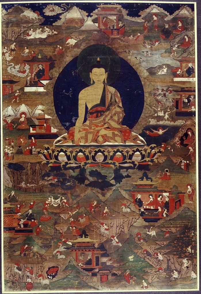 Будда Шакьямуни и сцены из его жития. XVII в.