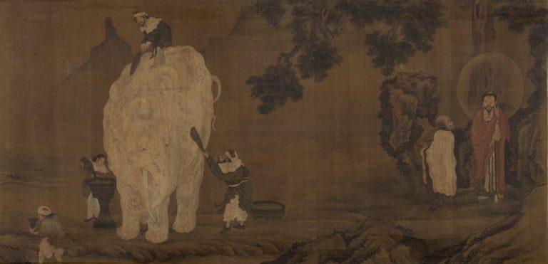 Будда Шакьямуни наблюдает за омовением белого слона. Китай, XVI в.