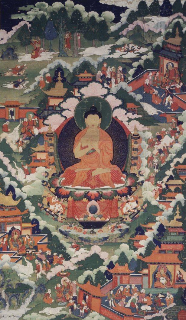 Будда Шакьямуни сидит в дхьяна–асане. Тибет, XVIII в.