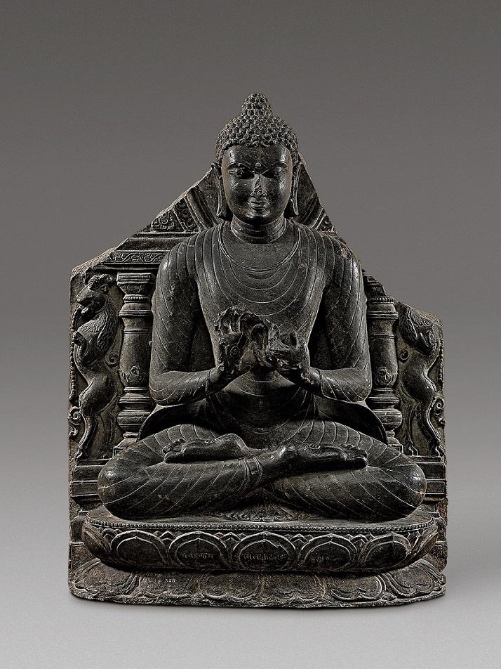 Будда Шакьямуни во время первой проповеди в Сарнатхе. XI в.