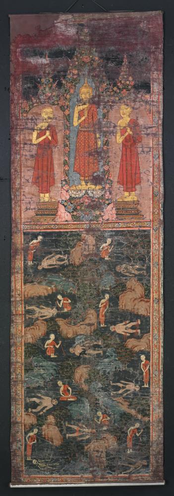 Будда, два ученика-монаха и сцены, изображающие непостоянство человеческого тела. Начало XX в.