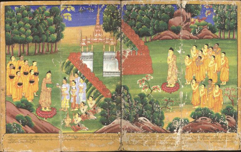 Будда и его последователи получают пожертвования. XVIII в.