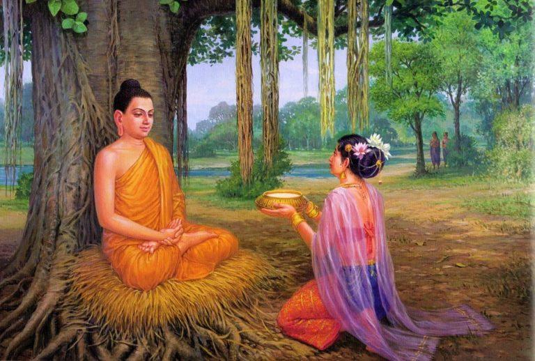 Будда принимает рисовую кашу