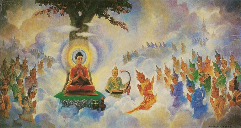 Будда проповедует Абхидхамму на Небесах