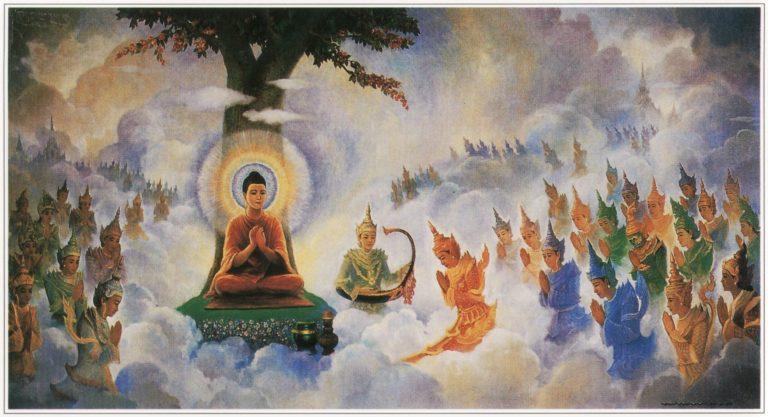 Будда проповедует богам
