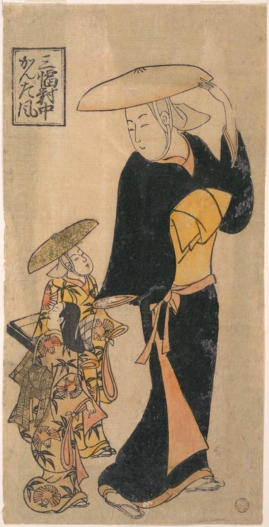 Буддийская монахиня разговаривает с двумя девочками, следующими за ней. Япония, XVIII в.