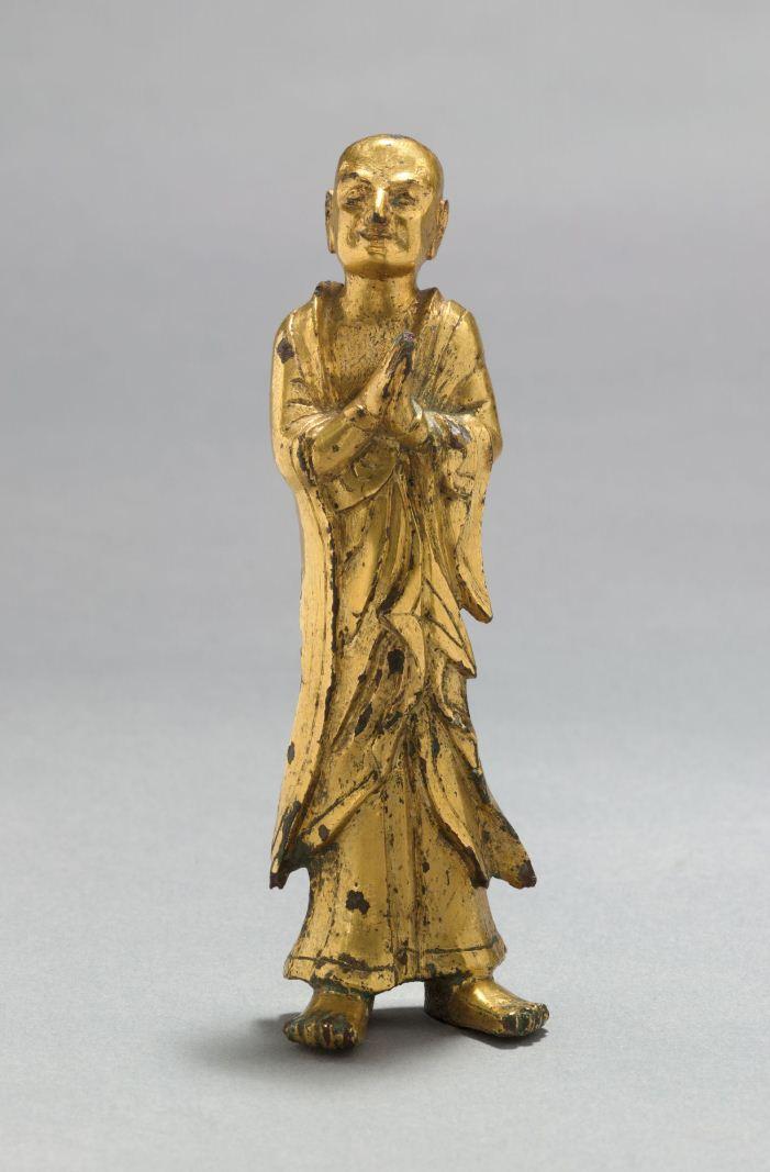 Буддийский монах в молитвенной позе. Китай, VI в.