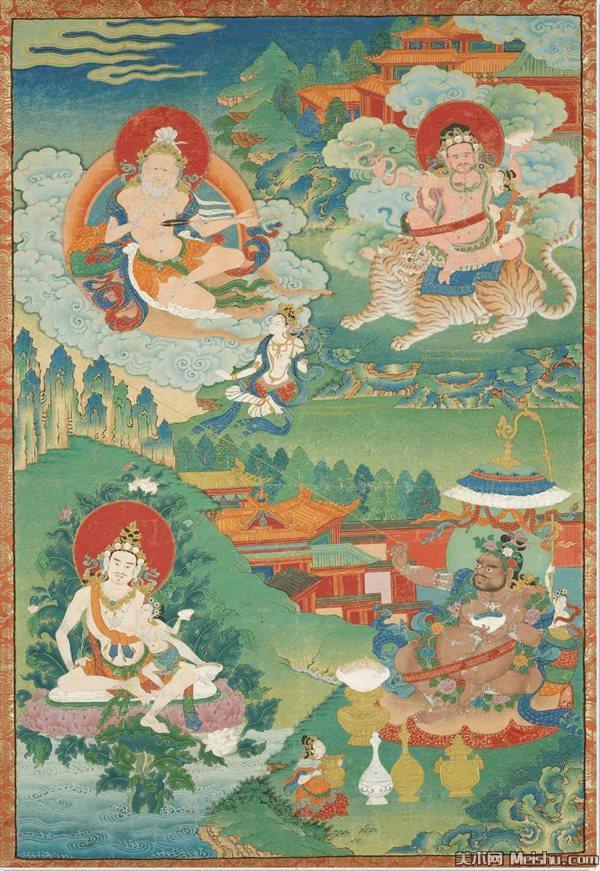 Четыре махасиддхи: Сараха, Домби Херука, Наропа и Вирупа. Тибет, XVIII в.