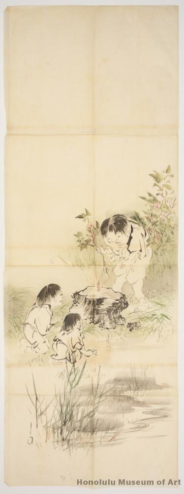 Дети находят изображение Будды. Япония, XIX в.