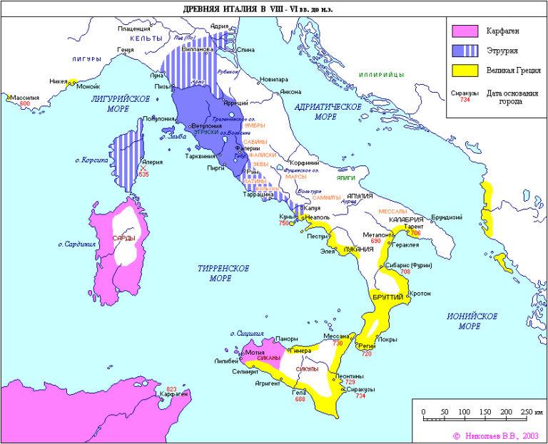 Древняя Италия в VIII–VI вв. до н.э.