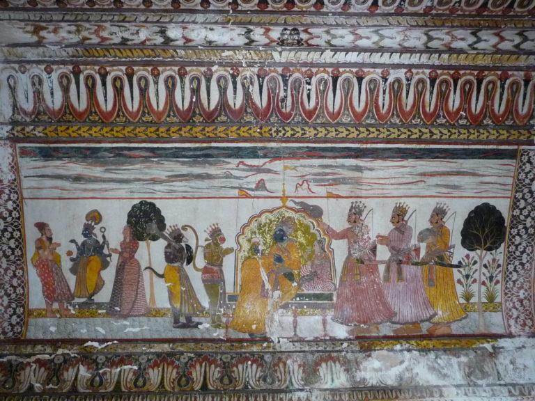 Дворец Радж Махал. Фргамент фрески. Орча