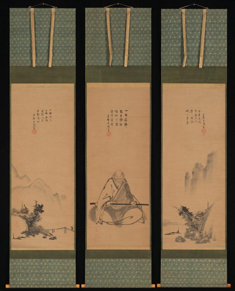 Дзен мастер с жезлом медитации и пейзажи в китайском стиле. Япония, XVII в.