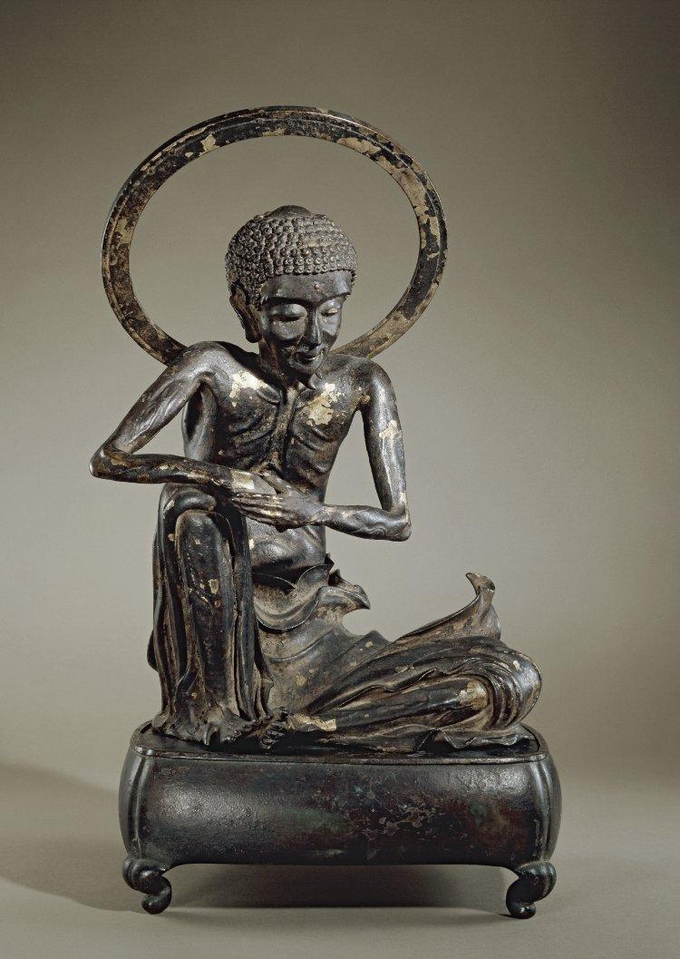Фигура истощенного Будды с ореолом. Япония, 1630