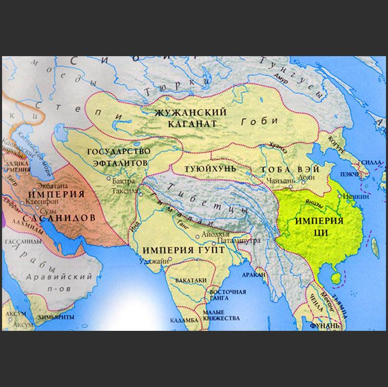 Государство эфталитов на карте Центральной Азии