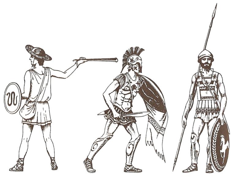 Греческие воины времён греко-персидских войн