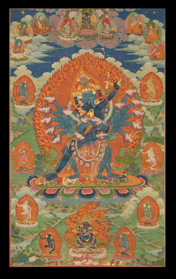 Хеваджра, один из идамов тантрического буддизма. Тибет, XVIII в.