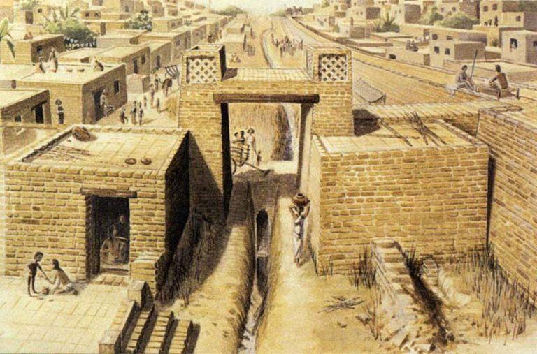 Художественная реконструкция древнеиндийского города Хараппа