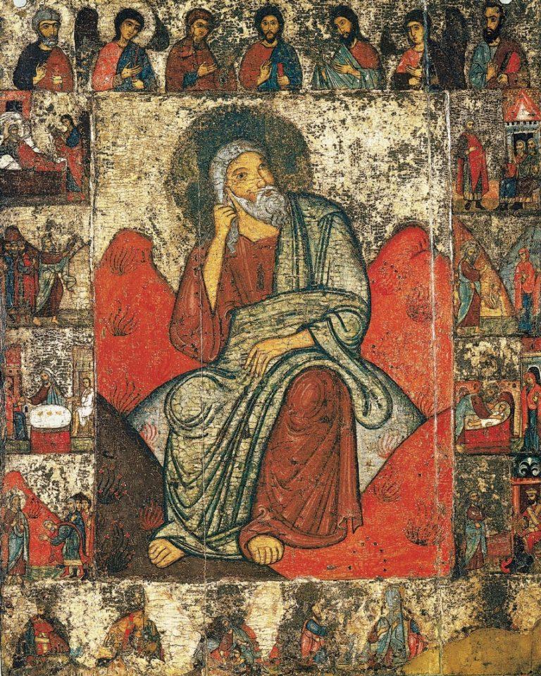 Илия Пророк в пустыне с житием и деисусом. XIII в.