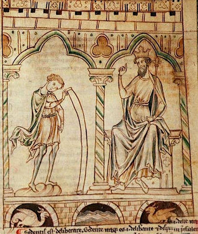 Иллюстрация к рукописи Истории королей Британии (Historia Regum Britanniae)