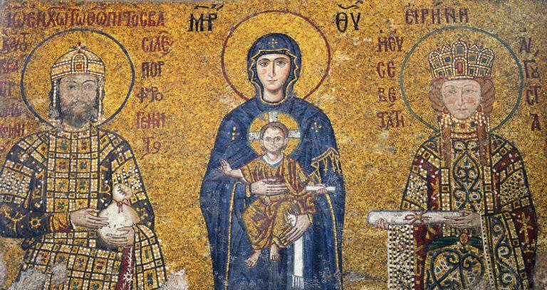 Император Иоанн Комнин и императрица Ирина перед Богоматерью. 1118 г.