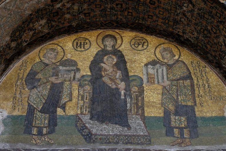 Императоры Константин и Юстиниан перед Богоматерью. X в.