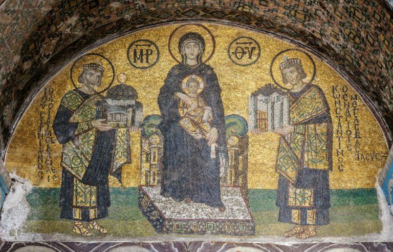 Императоры Константин и Юстининан перед Богоматерью. Х в.