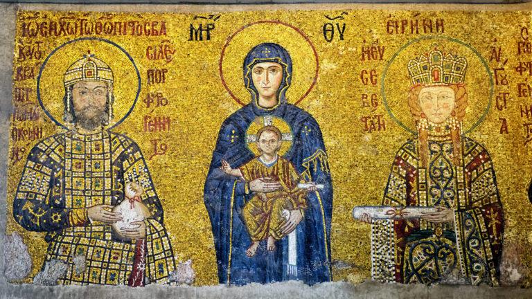 Императрица Ирина и император Иоанн перед Богородицей