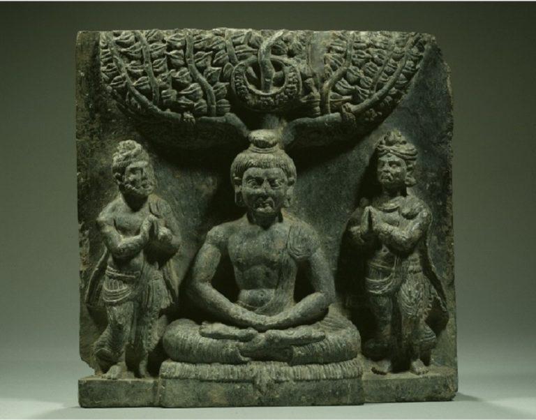 Индра и Брахма просят Будду о первой проповеди. I в.
