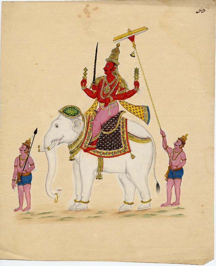Индуистский бог Индра с ваджрой. Индия, 1820