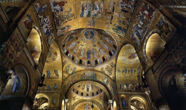 Интерьер собора св. Марка (итал. Basilica di San Marco — базилика Сан-Марко). Мозаики XII в.