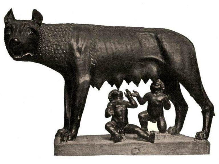 Капитолийская волчица, кормящая Ромула и Рема. XII-XV вв.