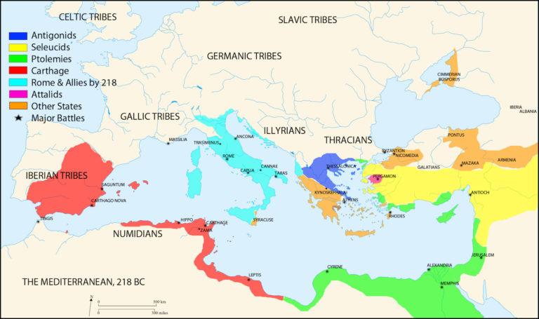Карта Европы перед Второй Пунической войной