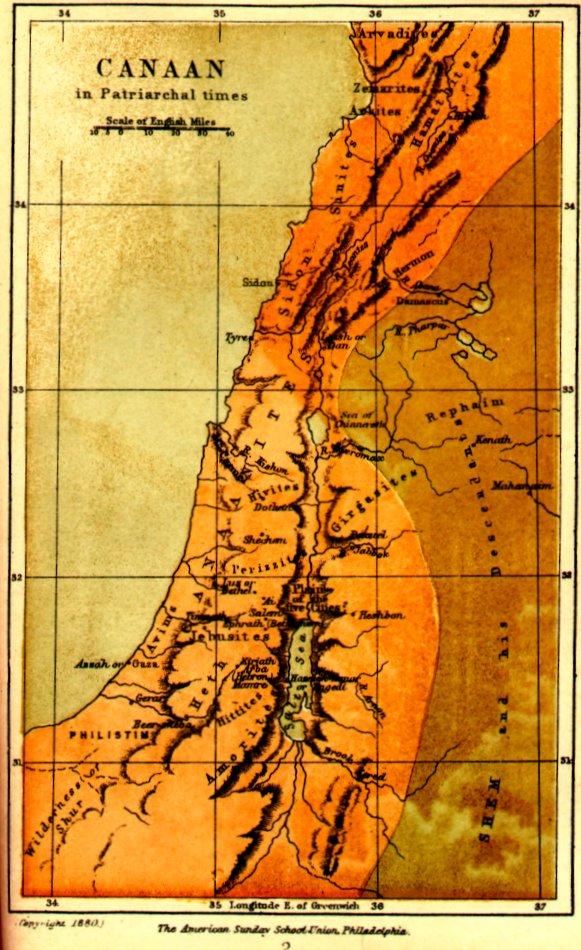 Карта Ханаана в XIX-XVII вв. до н.э. - эпоха патриархов
